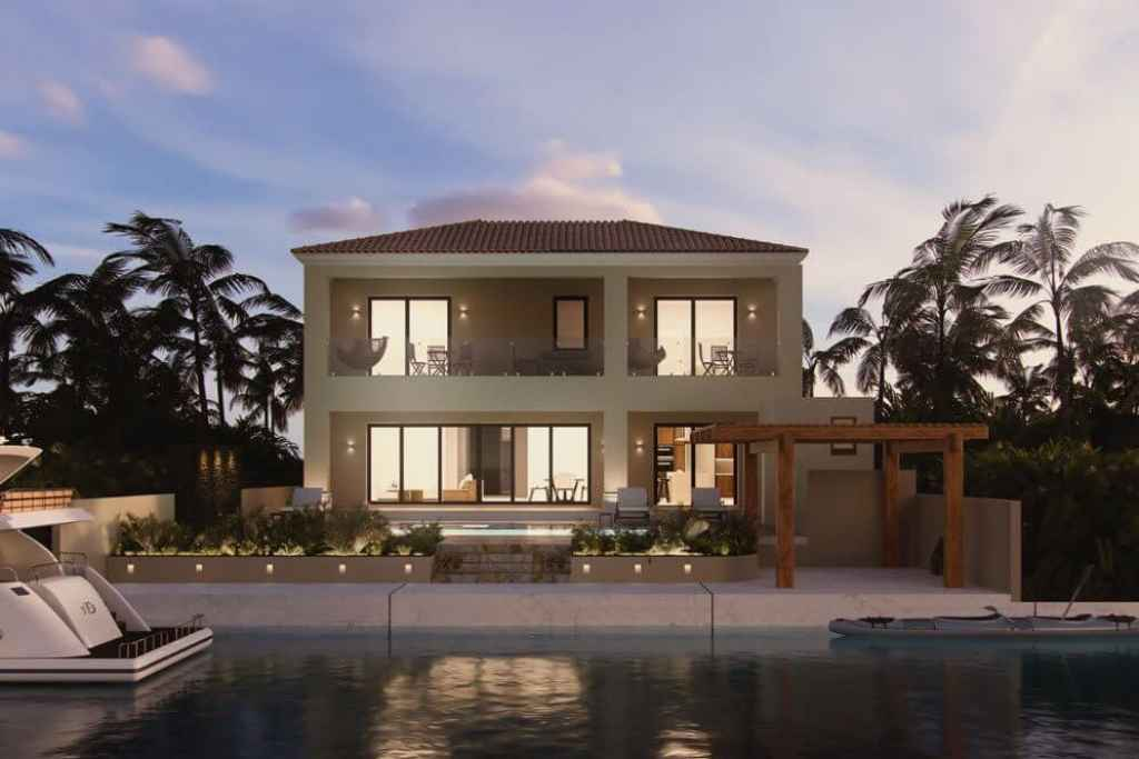 New villa with its own pier for yachts for sale in Puerto Aventuras